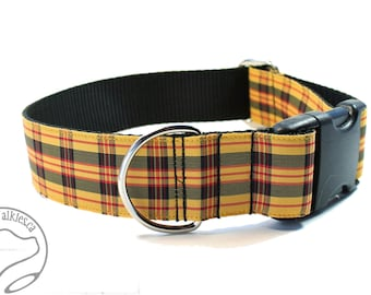 """MacLeod Clan Tartan Dog Collar- 1.5"""" (38mm) wide - Red Yellow Black Plaid  - Martingale or Side Release - Choice of collar style and size"""