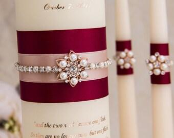Rose Gold Wedding Unity Candle Set, Burgundy Unity Candles, Rose Gold Wedding Candles, Personalized Wedding Candles