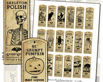 Halloween Witch Potion Label digital collage sheet bat cat holiday wicca 1x3 25mm x 75mm