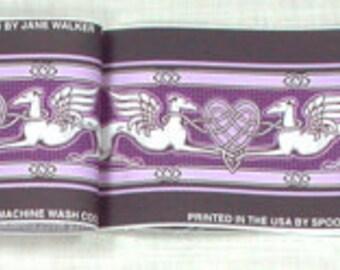 Jane Walker Celtic Angel Hound Collar Fabric Strip CAH-Purple/White
