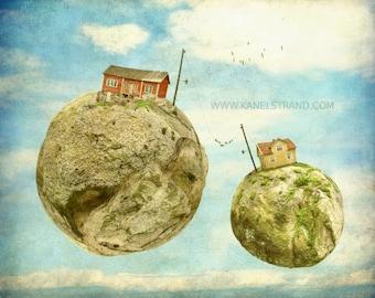 Surreale Kunstfotografie, Fantasie Bilder, ein Vogel auf dem Drahtseil, moderne Kunst Bilder 8 x 10