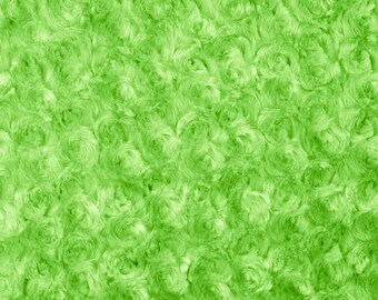 Lime Rosebud Cuddle Minky Fabric, Sold by The Yard