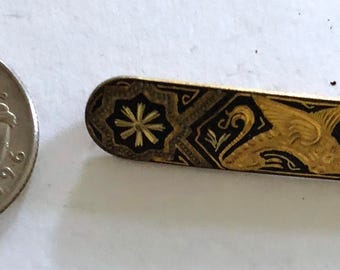 DAMASCENE pin brooch bar