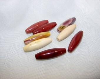 Set of 8 Jasper beads blood 40 mm rice shape. (2115577)