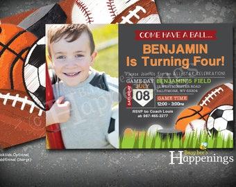 Sports Birthday Invitation Sports Invitation Ball Birthday Invitation Sports Invite Sports Party Soccer Digital File Busy bee's Happenings