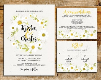 Daisy Wedding Invitation Suite | White Daisies | printable wedding invitations