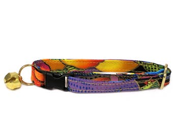 Dogs and Doggies Adjustable Breakaway Cat or Small Dog Collar by Fashionable Felines (Rare Laurel Burch Fabric)
