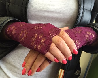 Lace Gloves for Women and Teens in Burgundy. Ready to ship.