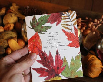 Fall Leaves Greeting Card - Jane Austen - Leaves - Watercolor - Sense and Sensibility - Quote - Any Occasion - Blank Card - Autumn Leaves