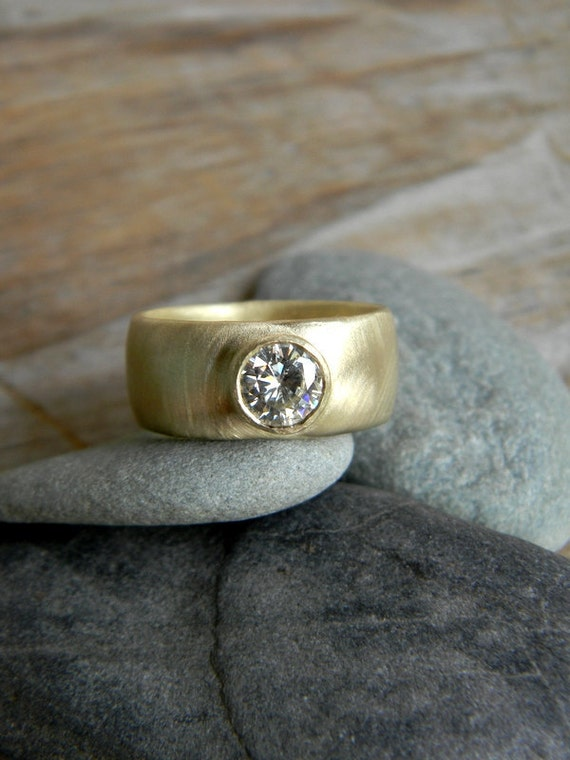 Chunky Gold Engagement Ring Round Moissanite Wide Band Ring