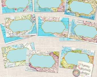 Map  Place Cards, World Map tags, tent  labels, Digital Buffet Cards, travel theme graduation, wedding, birthday, baby shower, places you go