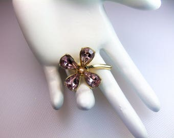 Vintage Gold Tone Pear Shape Pale Lavender Rhinestones and Faux Pearl Four Leaf Clover Shamrock Pin Brooch St Patrick's Day
