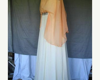 On Sale 1970's Empire Waist Chiffon Gown  Coral over Light Yellow w/Beads