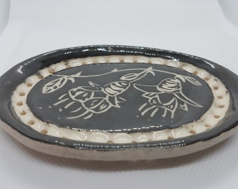 Black and White handbuilt soap dish soap saver trinket dish spoon rest sgraffito flowers