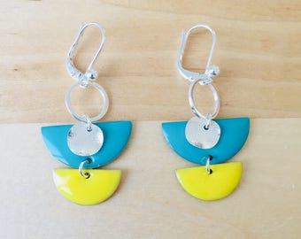 Earrings green yellow lemon turquoiseet