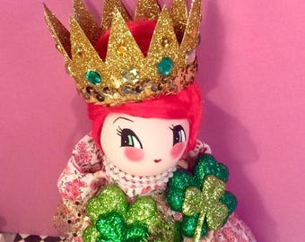 St patricks day decor st patricks day doll vintage retro inspired art doll irish girl shamrock queen clover queen irish princess