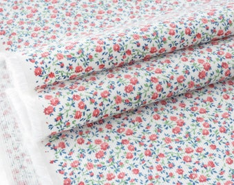 Fabric corduroy soft flowery old rose background ecru x 50cm