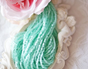 Satin Light Turquoize-2 cut beads 11-Bead Strands- Czech beads