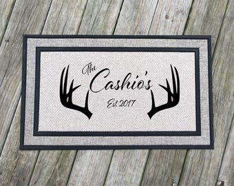 Personalized door mat, 18 in x 30 in, on 100% Polyester pile w Recycled Rubber backing