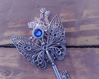 Transformation Necklace / Butterfly Necklace  / Skeleton Key Necklace / Swarovski Crystal / Spirit Animal / Steampunk Fashion