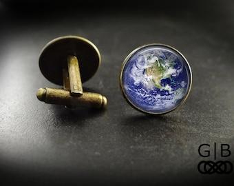 Earth Cuff Links Planet Earth Cufflinks - Planet Earth Accessories Planet Cuff Links - Planet Earth Cufflinks Earth Gift Planet Accessories