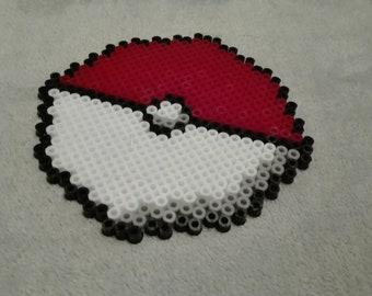 Pokemon Pokeball Hama Beads Coaster Art
