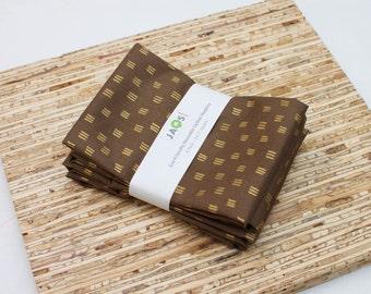 Large Cloth Napkins - Set of 4 - (N4440) - Brown Metallic Gold Modern Reusable Fabric Napkins