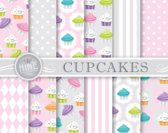 CUPCAKES Digital Paper / Cupcake Printables / Pink and Grey Cupcake Patterns, Cupcake Theme Party, Cupcake Downloads, Cupcake Party Paper