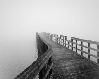 black and white photography, nautical photography, minimalist photography, lake house decor, fog photography, nautical decor, lake house art