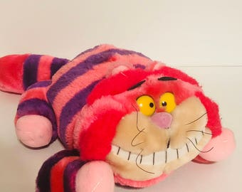 Disney's Cheshire Cat from Alice in wonderland plush stuffed animal pink and purple