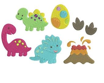 Mini Dinosaur Machine Embroidery Design Set - Instant Download
