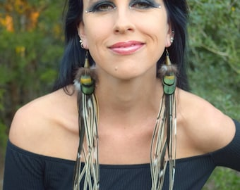 GREENWOOD GYPSY Long Feather Earrings
