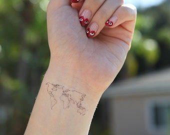 World map tattoo etsy but first coffee medium spirit ink temporary tattoos gumiabroncs Image collections
