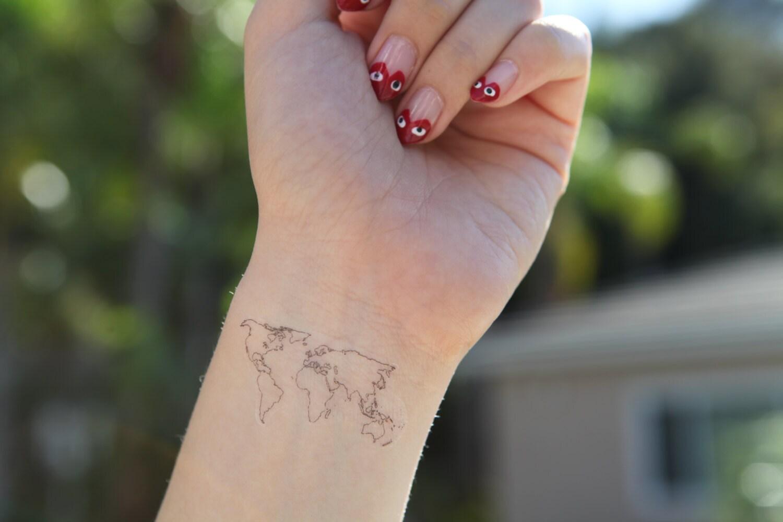world map medium spirit ink temporary tattoos - 🔎zoom