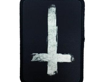 Inverted Cross Patch Anti Cross Patch Satan Patch 666 Patch Demonic Patch Horror Patch Iron On Patch Jacket Patch