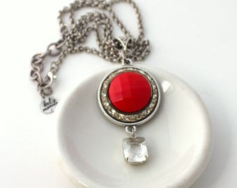 Red Necklace, Recycled Jewelry, Bridal Necklace, Trendy Necklace, Upcycled Jewelry, Recycled Necklace, Rhinestone Necklace, Red Jewelry