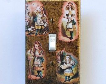 Alice collages on Switchplates w/ MATCHING SCREWS- Alice in Wonderland wall decor Alice mixed media Alice Collages art prints original print