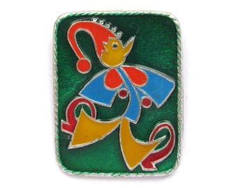 Clown, Petrushka, Soviet Badge, Child, Boy, Vintage collectible badge, Circus, Pin, Russian, Soviet Union, Made in USSR, 1980s