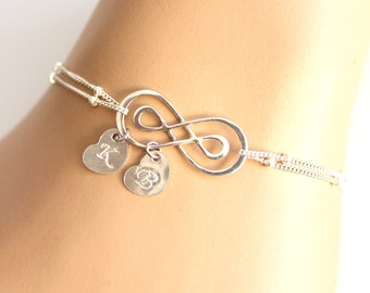 personalized womens Double Infinity Charm Bracelet , Infinity Bracelet, Initial Bracelet ,Friendship Bracelet ,Mom,Sister,Family,Wives Gifts