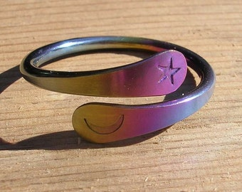 One Turn Moon Star Energy Ring™ in Rainbow Niobium - Natural Niobium - Blackened Niobium - or Sterling Silver