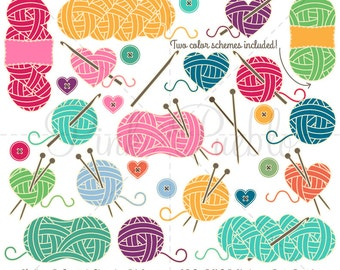Knitting Clipart, Knitting Clip Art, Yarn Clipart, Yarn Clip Art, Crochet Clipart Clip Art - Commercial and Personal Use
