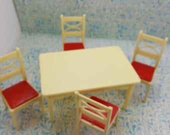 Renwal Table and Chairs white  and Red   Retro  Kitchen  Miniature Furniture Art Deco