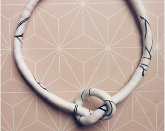 Knot Soft Necklace - Black White line drawings