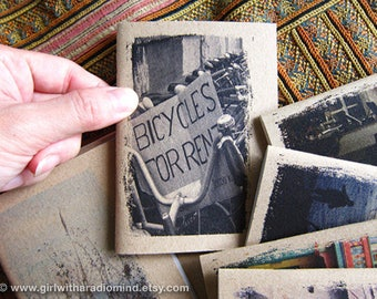Bicycle Notebook 11 - Best Friend Gift - Mini Travel Journal - Bicycles for Rent, Laos - Draw down your thoughts - Pocket Size