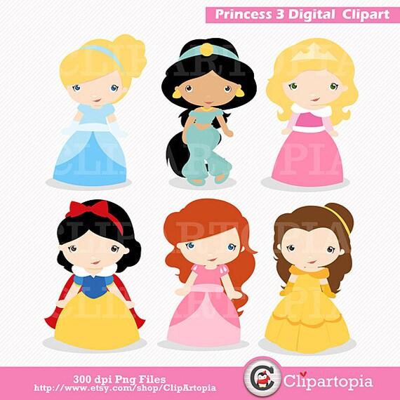 Princess 3 Digital Clipart / Cute Princess Clip Art