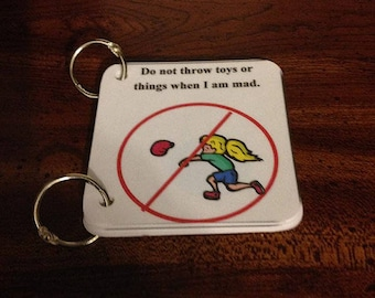 2 Social Story Key Ring Cards-No Throwing and Obey Adults
