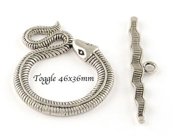 X 2 snake 46x36mm silver toggle clasp