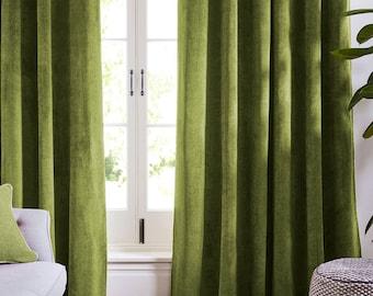 Olive Light Green Curtains Velvet Drapes Custom Blackout Drape Home Decor  Velvet Bedroom Living Room Curtains