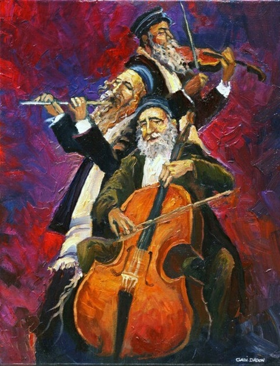 Large oil painting jewish musicians kleizmer made to order for Israeli artists oil paintings