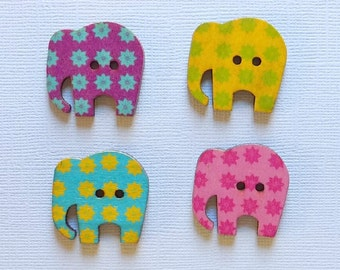 8 Wooden Elephant Buttons, Multi Color Buttons - #SB-00039